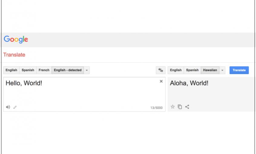 Google Translate Hawaiian