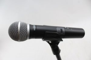 Shure microphone in a stand
